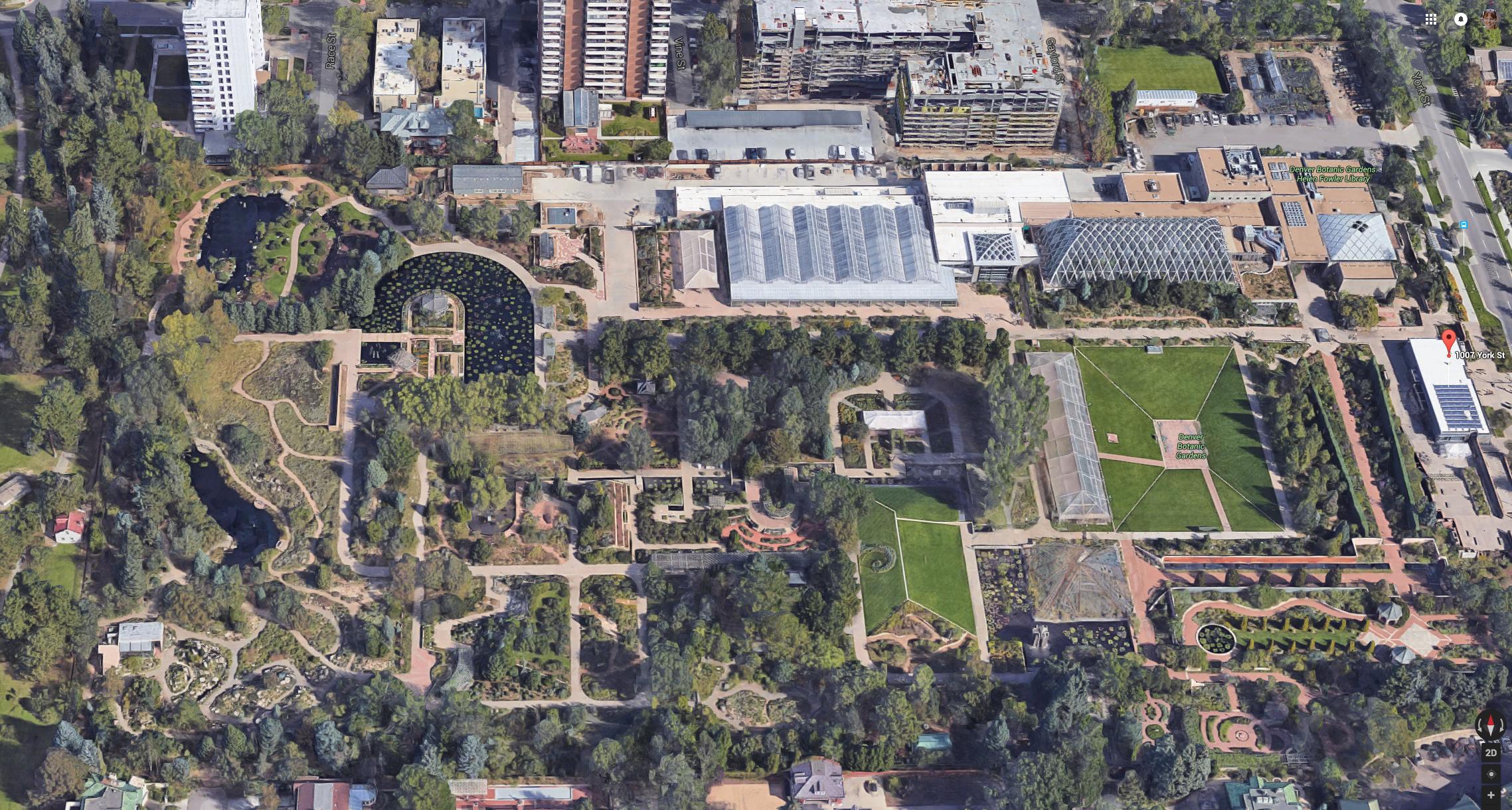Aerial View of the Denver Botanic Gardens