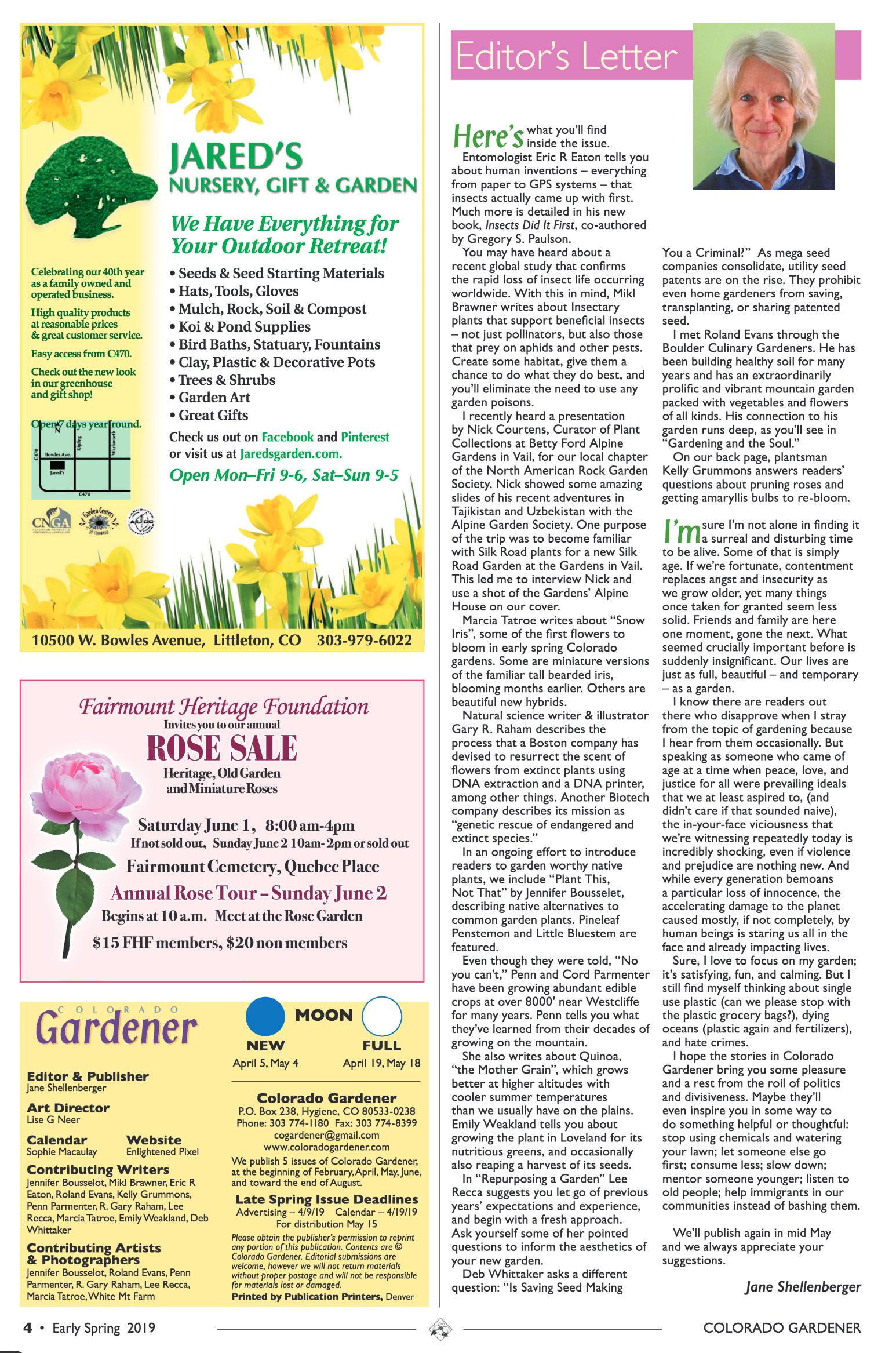 Colorado Gardener Magazine - Spring 2019 - Editor's Letter