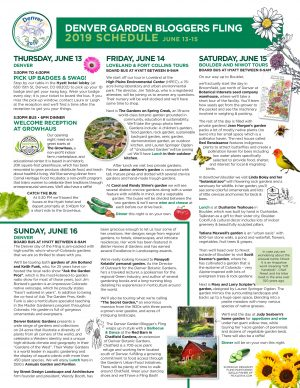 Denver Garden Bloggers Fling Schedule